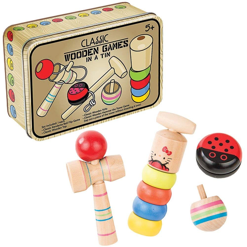 4 Pc Classic Wooden Games in a Tin Set