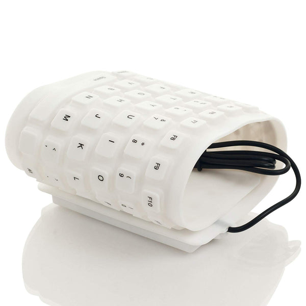 Sound Logic 72-4931W Flexible Silicone USB Keyboard - White