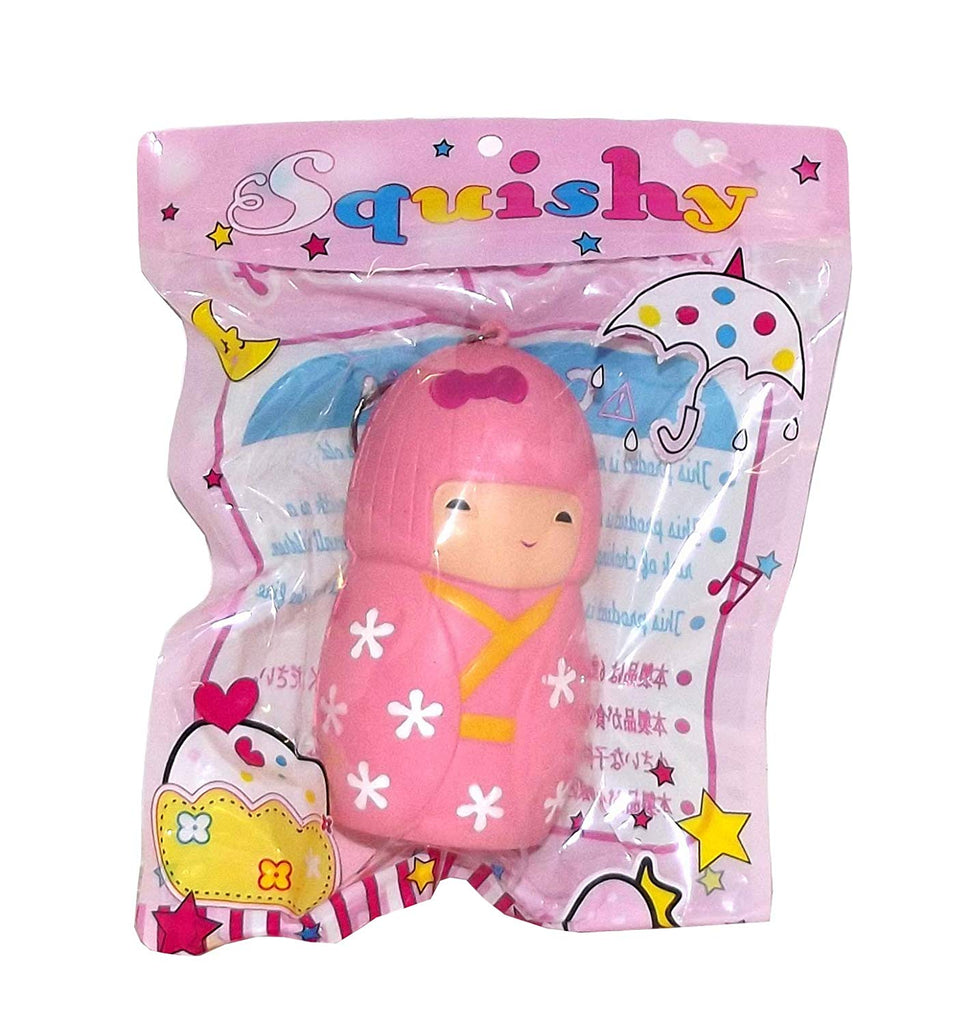 Squishy Series Pink Japanese Kokeshi Doll Foam Stress Relief Keychain
