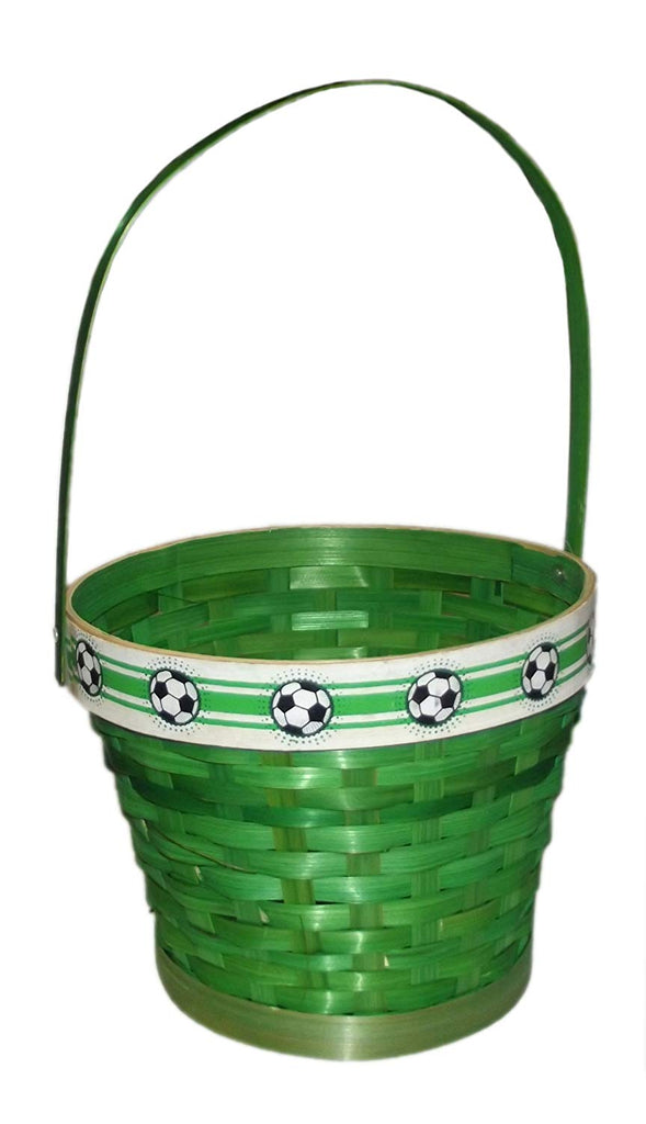 "Round Soccer Green Basket with Handles-14.5"" x 8.5"" x 7.5"""