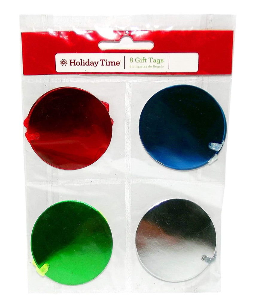 Metallic Round Gift Tags, 8-Pieces