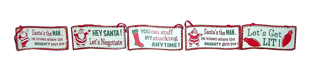 Kurt Adler Naughty Vintage Style Sign Tree Ornament, Assorted, 1 count