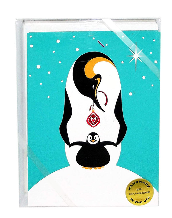 Penguin With Baby and Ornament Christmas Holiday Cards, Set of 8