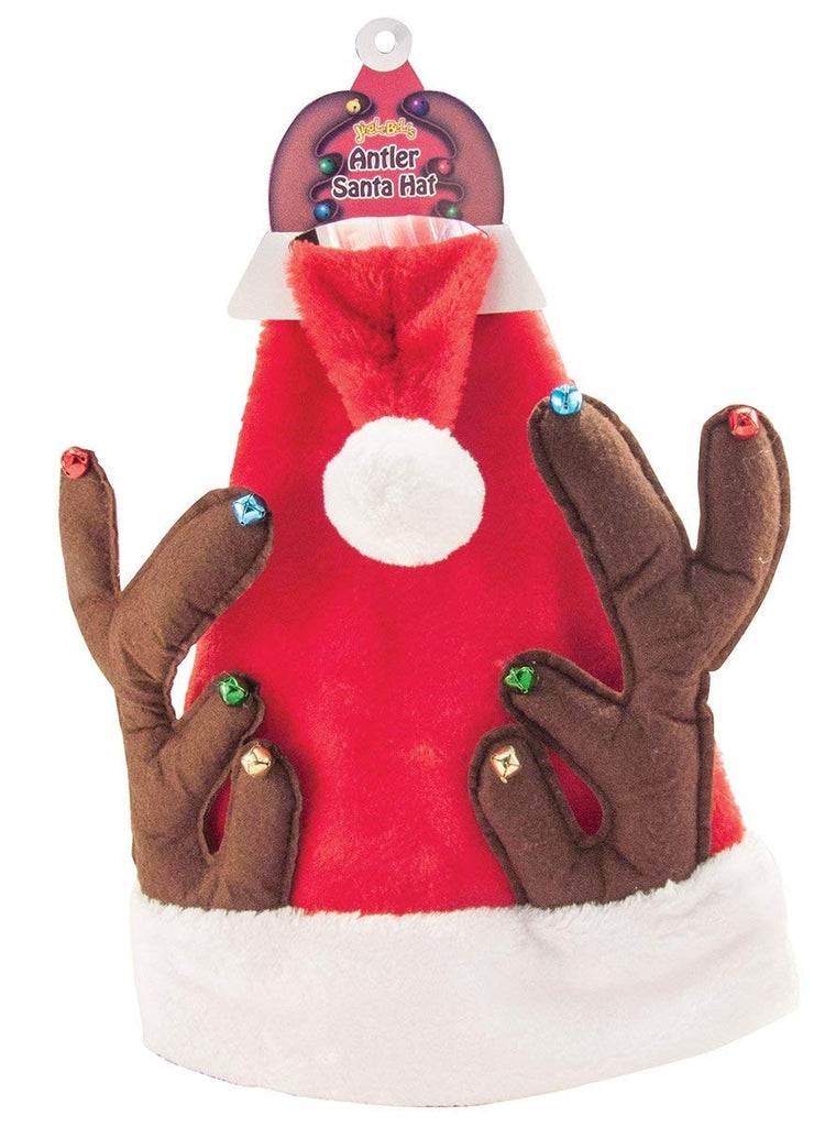 Decorative Jingle Bell Santa Clause Hat with Antlers - Perfect for Christmas! (Design May Vary)