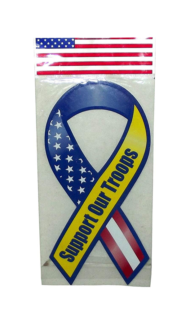 4th of July Patriotic Support Our Troops Ribbon Car Magnet, 8 inches, 1 count