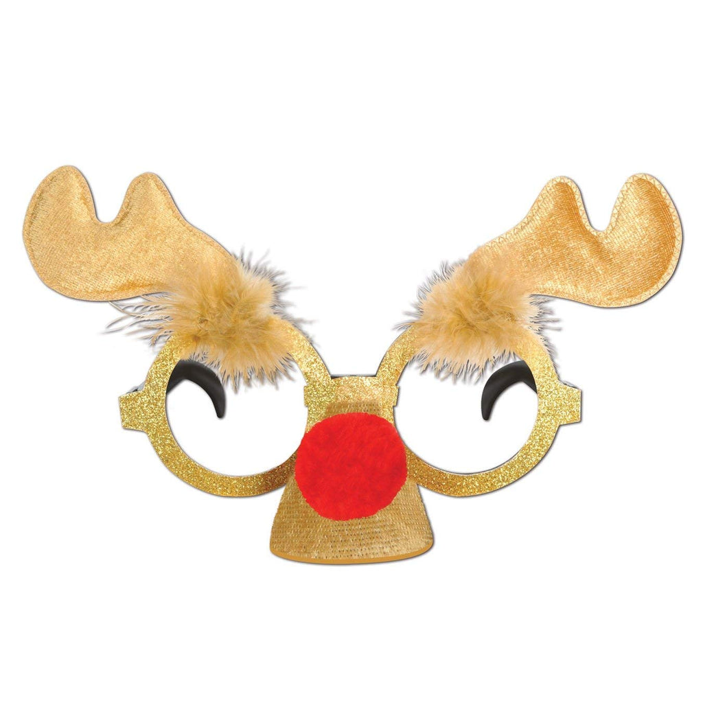 Beistle 1-Pack Glittered Reindeer Glasses