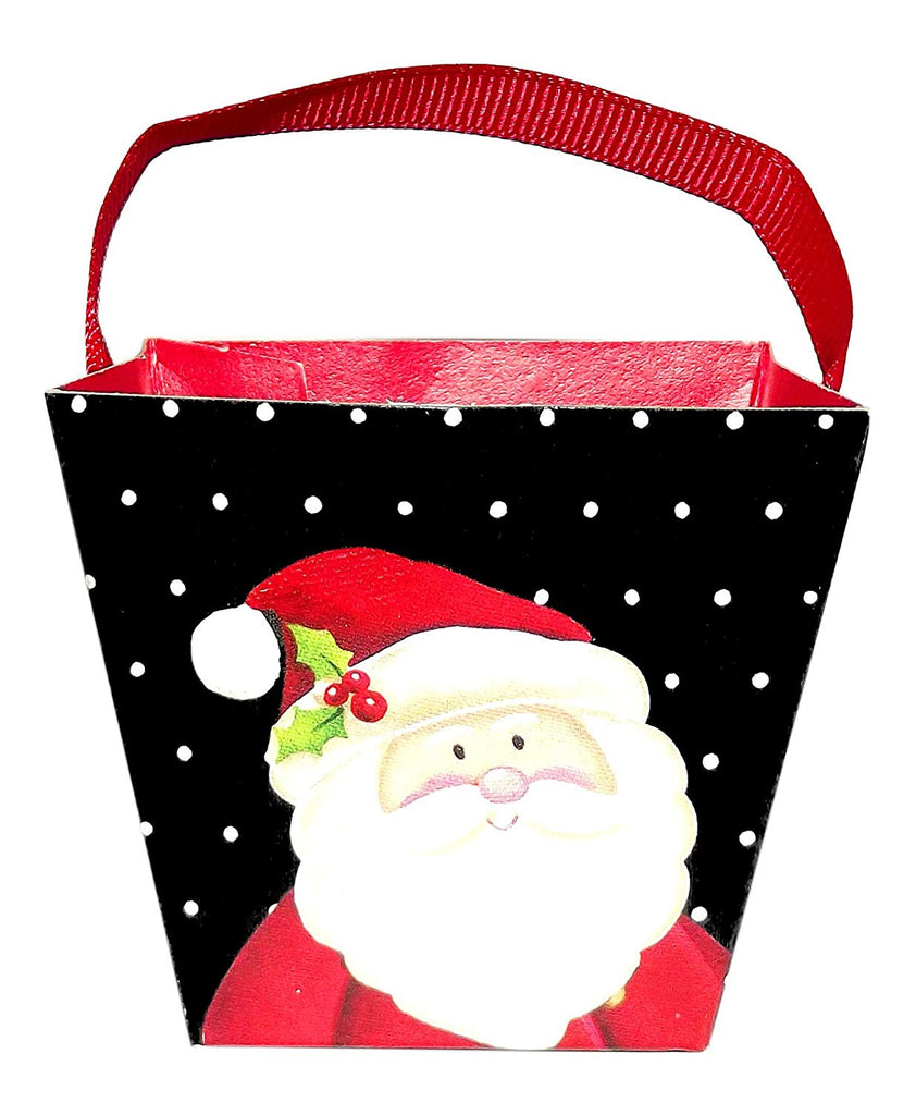 Christmas Mini Pail Treat Box Set, 6-Pieces (Black/Santa)