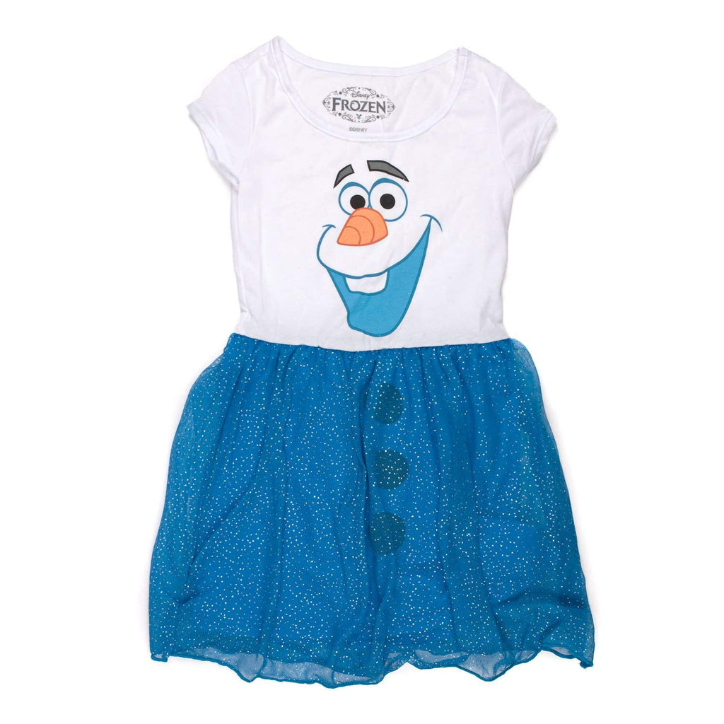 Frozen I Am Olaf Girls Blue Glitter Dress