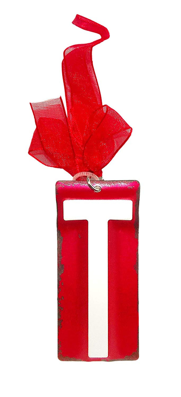 White Initial License Plate Ornament - Letter T
