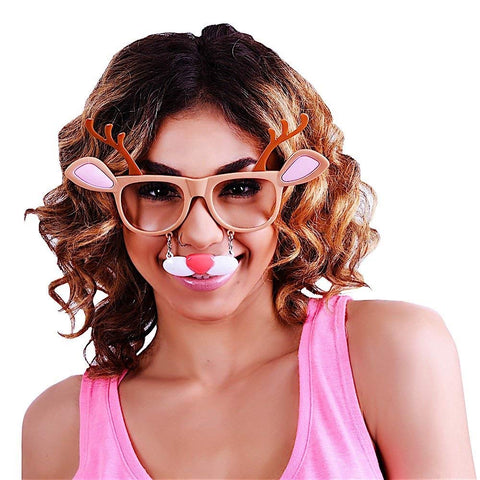 Sunstaches Holiday Reindeer Clear Lens Sunglasses, Instant Costume, Party Favors, UV400