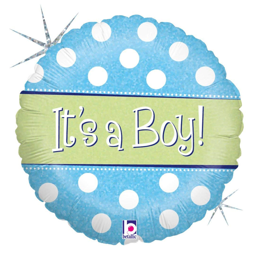 "Betallic Spots Dots Baby Boy Holo Balloon, 18"", Multicolor"