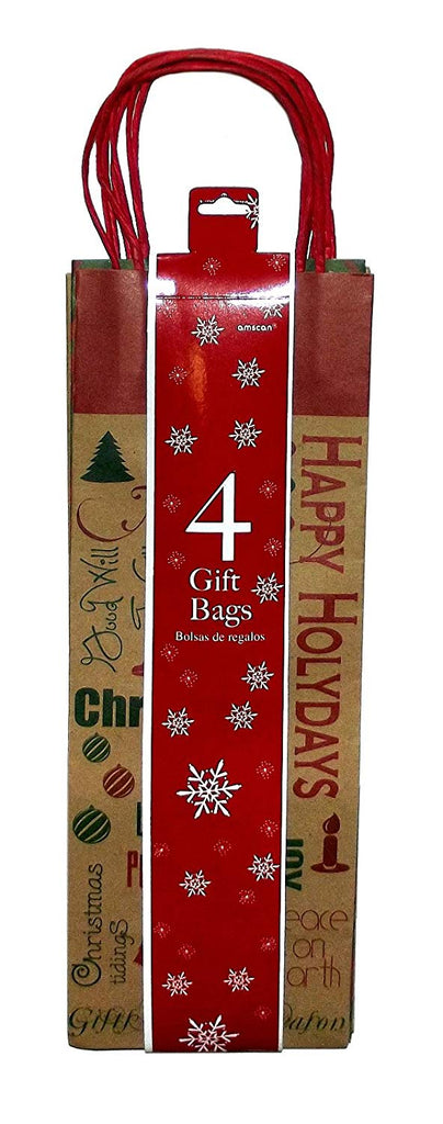 Assorted Kraft Christmas Wine Bottle Gift Bag, 4-Pack