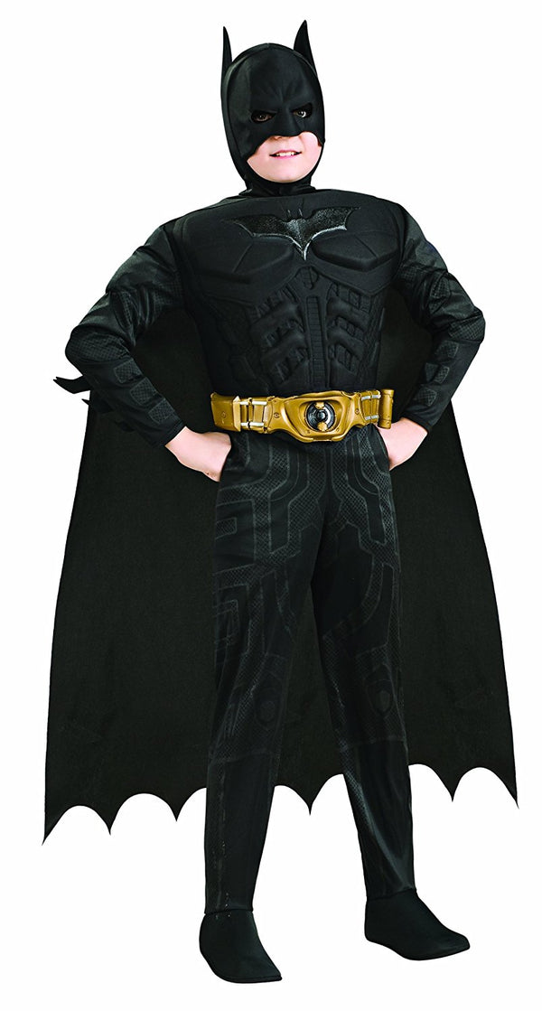 Batman Dark Knight Rises Child's Deluxe Muscle Chest Batman Costume with Mask/Headpiece and Cape - Toddler
