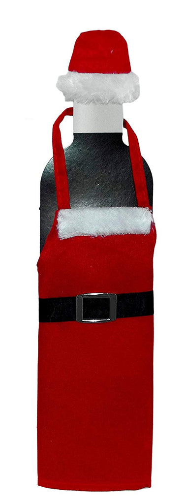 For Keeps Festive Holiday Santa Apron and Hat Wine Bottle Decoration