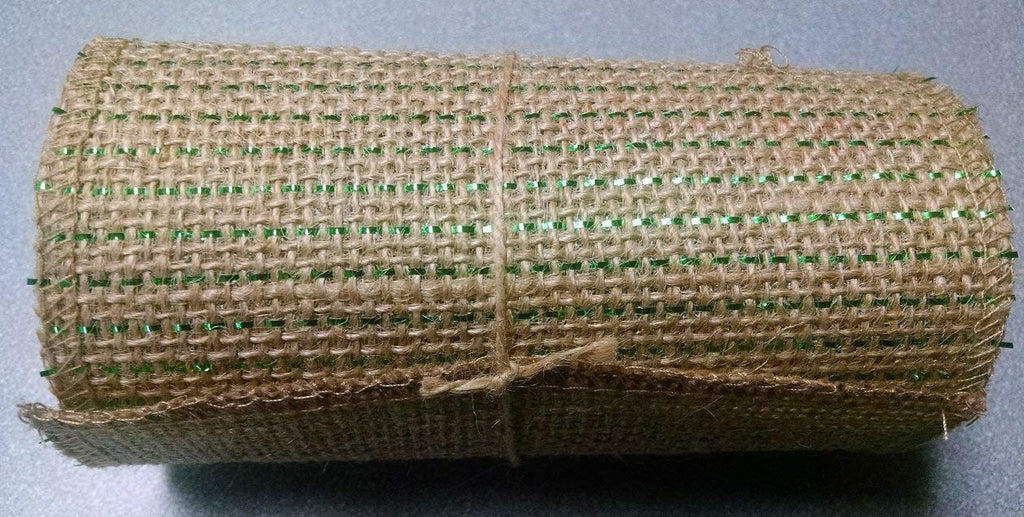 "5"" Wide Burlap Green Stripe Ribbon 10ft"