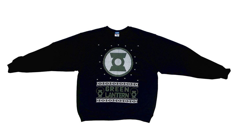 DC Comics Green Lantern Ugly Sweater Style Men's Sweatshirt, Black