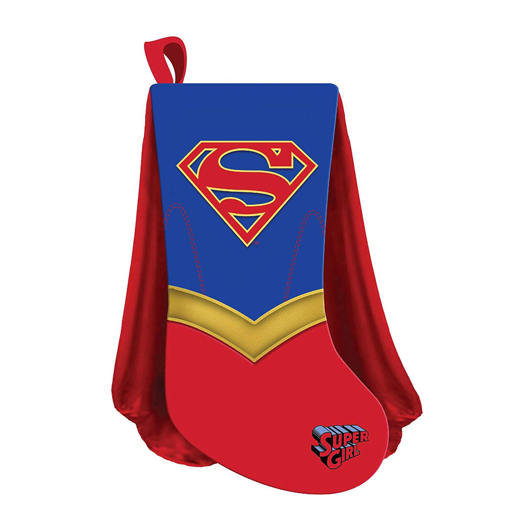 Kurt Adler 19 Inch Supergirl Shield With Cape Christmas Stocking