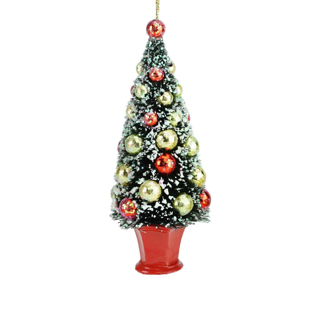 "5.5"" Holiday Moments Bottle Brush Christmas Tree in Red Pot Christmas Ornament"