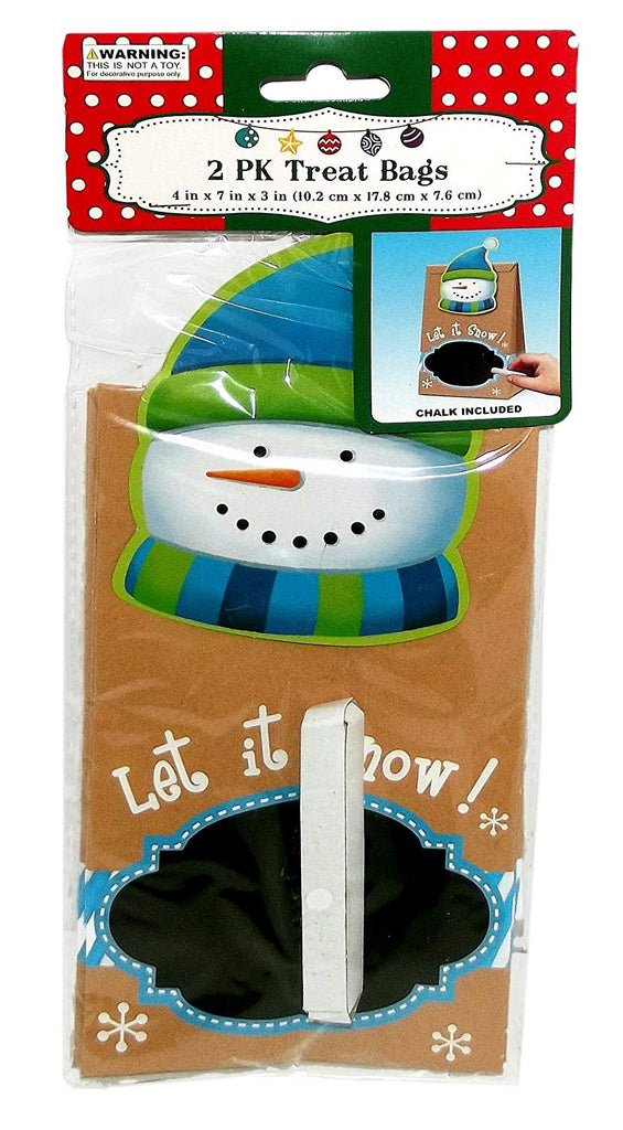 Snowman Chalkboard Treat Bags, 2-Pack