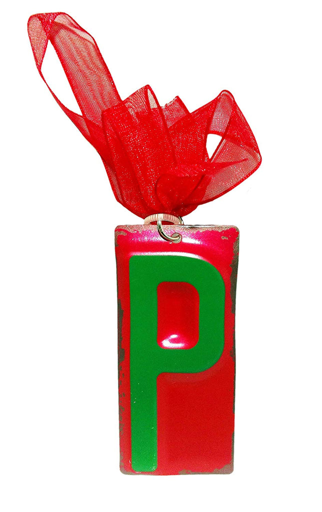 Green Initial License Plate Ornament - Letter P