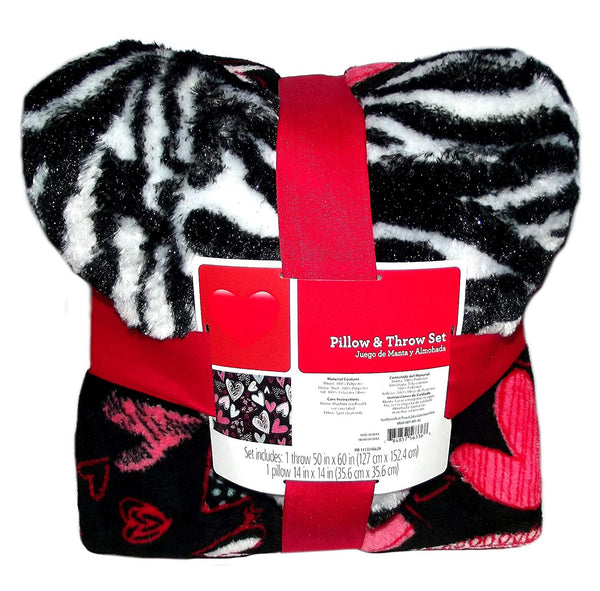 Zebra Pillow and Hearts Blanket Throw Set