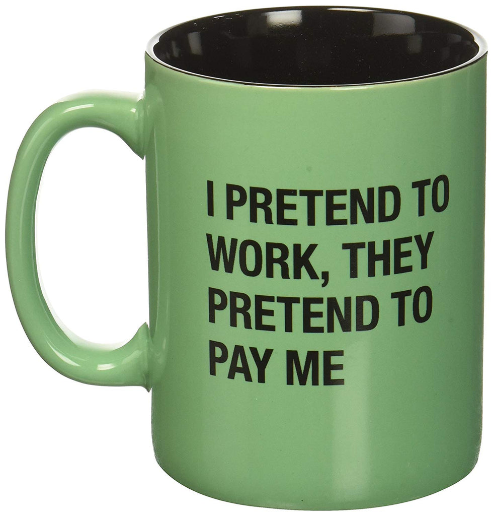 About Face Designs 186804 I Pretend to Work Mug Coffee, 13.5 oz, green