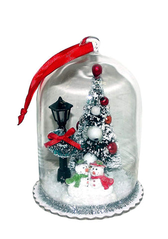 RAZ Imports North Pole Christmas Scene Bell Jar Ornament, 5 inches