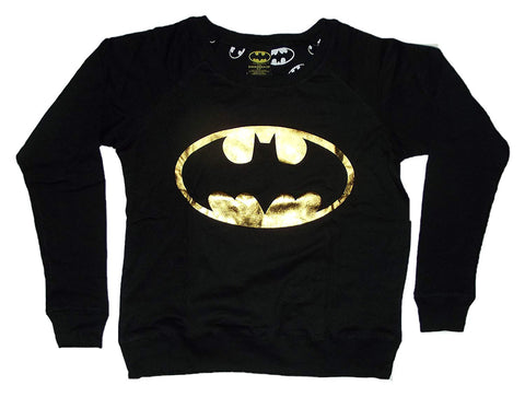 BIO World Merch DC Comics Batman Gold Logo Juniors Reversible Black Longsleeve Sweatshirt (EXTRA LARGE)