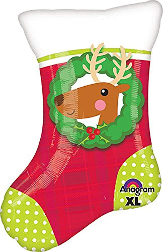 20 Inch Christmas Stocking Jr Shape Balloon- 1 PIECE
