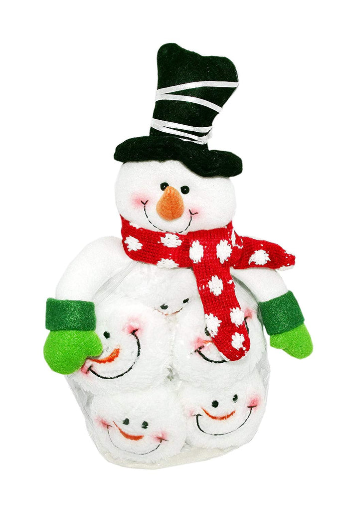 Snowman Figure Snowball Fight Fun Set (Silver Striped Hat)