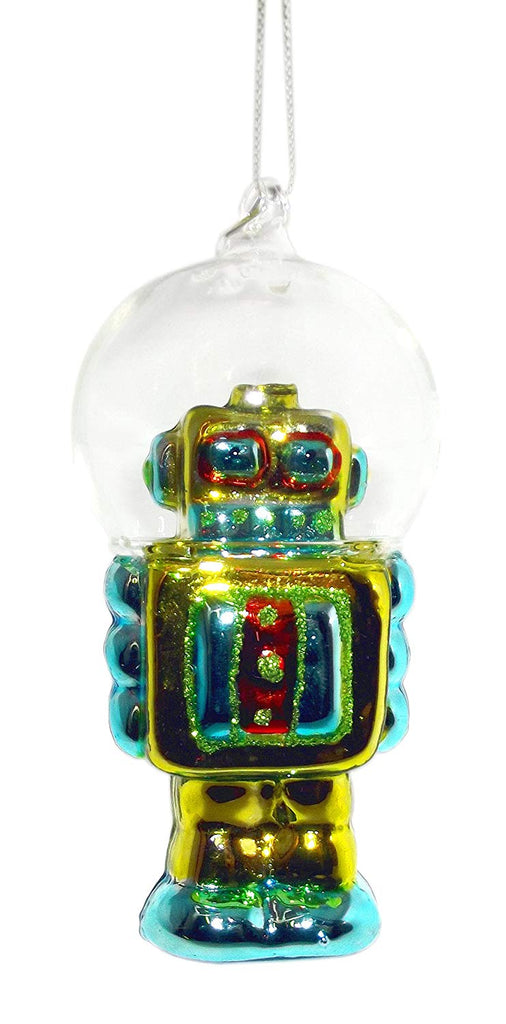"4.5"" Robot with Dome Helmet Ornament (Green)"