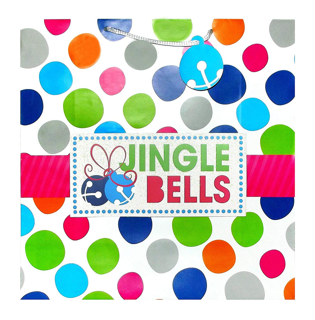 Large Jingle Bells Polka Dot Square Gift Bag