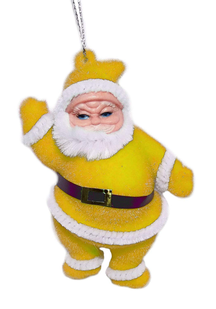 "4"" Flocked Santa Ornament (Yellow)"