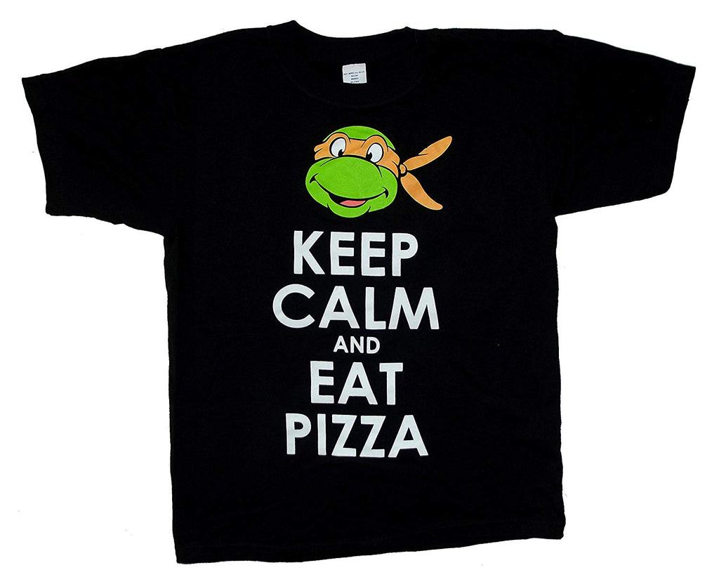 Teenage Mutant Ninja Turtles Keep Calm and Eat Pizza Youth Black Shirt (Youth Large)