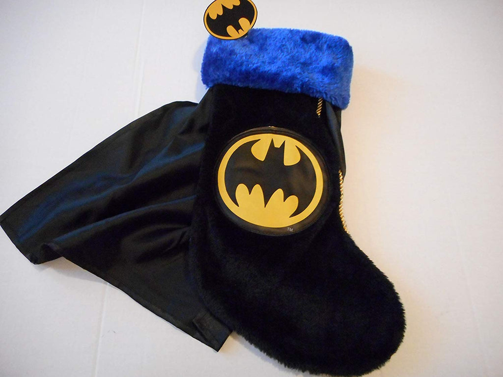 Batman 19 Inch Christmas Stocking with Blue Trim and Black Cape