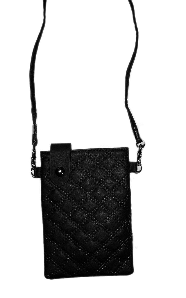 Faux Leather Quilted Phone Pouch Carrier (Black)