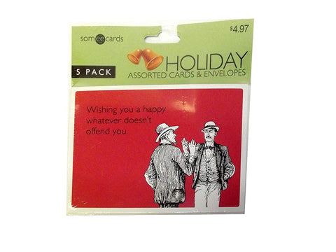 SOMEECARDS HOLIDAY ASSORTED CARDS AND ENVELOPES, 5 PACK, WHATEVER DOESN'T OFFEND YOU