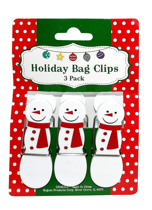 Snowman Holiday Bag Clips, 3-Piece Set