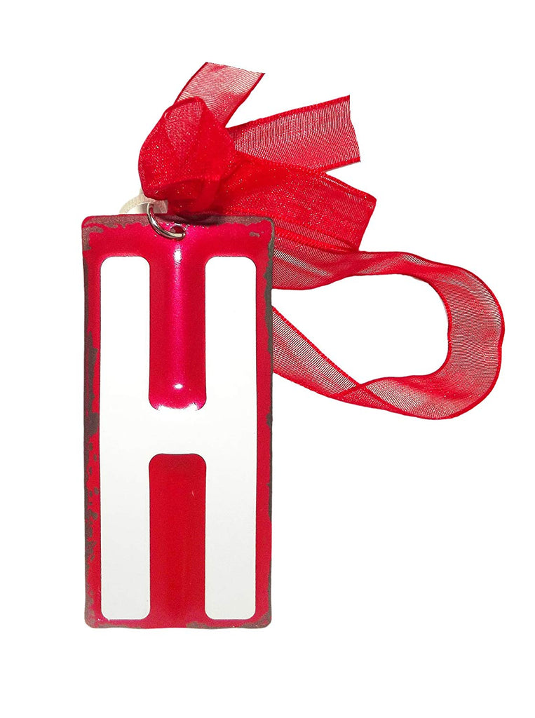 White Initial License Plate Ornament - Letter H