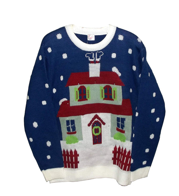 FunQi Down The Chimney Men's Light up Ugly Christmas Sweater
