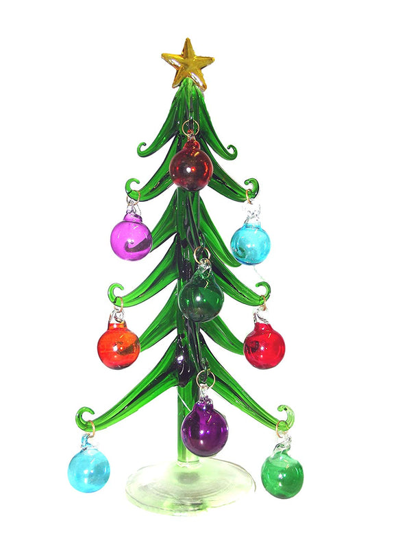 180 DEGREES DECORATIVE GLASS CHRISTMAS TREE WITH ORNAMENTS