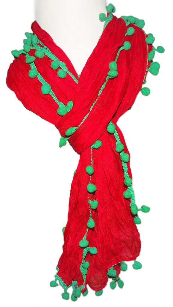 Pom Pom Scarves (RED/GREEN)