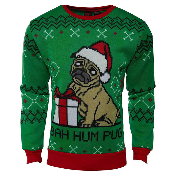 Mad Engine Bah Hum Pug Adult Ugly Christmas Sweater