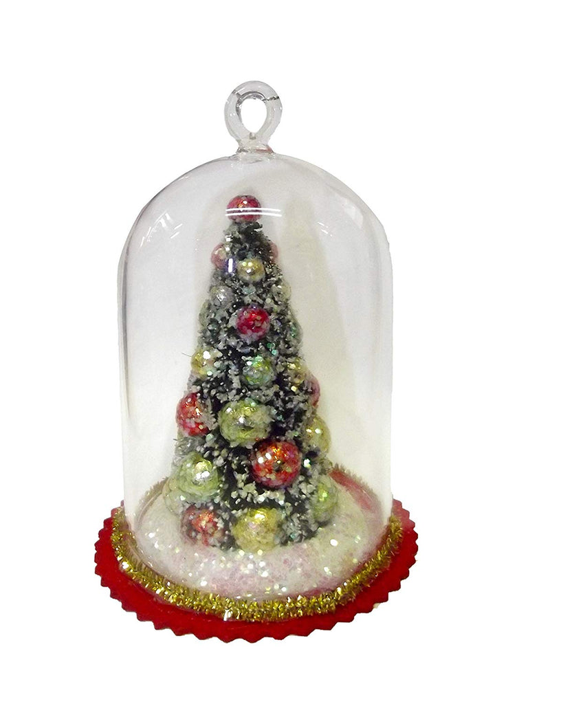 MINI CHRISTMAS TREE IN GLASS DOME ORNAMENT