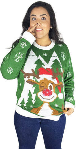 Light Up, Hello Deer Ugly Christmas Sweater- FunQi