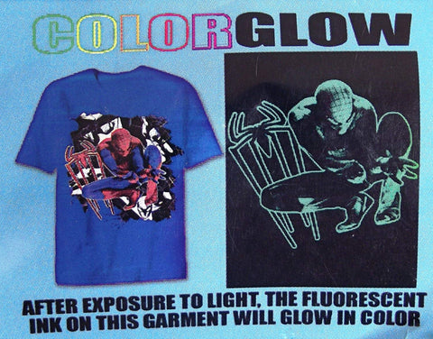 Spiderman Collage Blue Glow Child Shirt Large