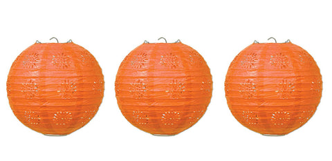 "Beistle 59846-O 3 Piece 8"" Lace Paper Lanterns, Orange"