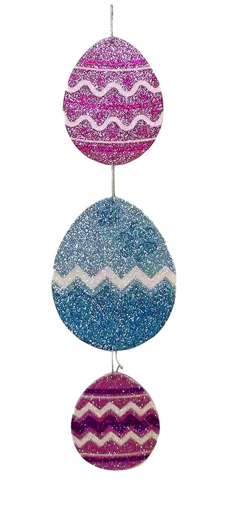 Happy Easter Glitter Hanging Party Decoration (Egg Trio)