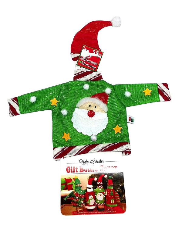 Santa Christmas Ugly Sweater Gift Bottle Cover