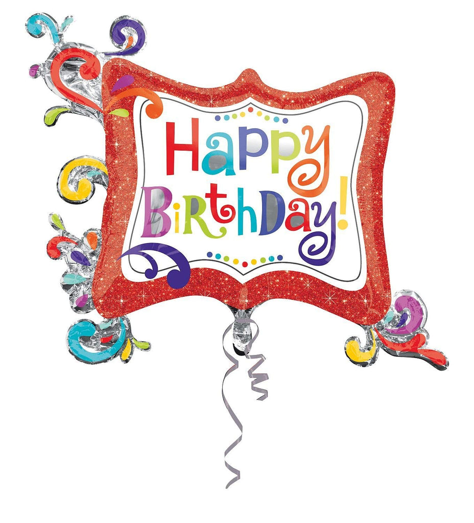 "Anagram International Happy Birthday Splashy Sparkle Frame Balloon, 34"", Multicolor"